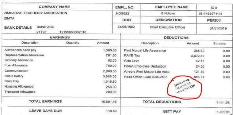 Is it true that Zimbabwe teachers' union boss earns $11 000 a month?